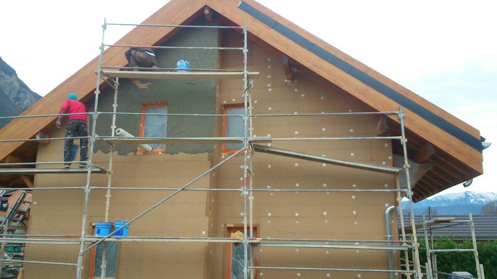 Isolation extérieure avec laine de bois - maison écologique à énergie positive - M2EP